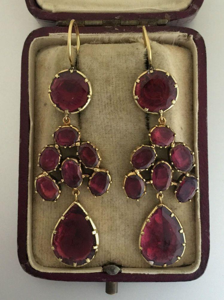 Vintage Jewellery Quarter Birmingham Garnet Drop Earrings Jewelry Art Garnet Jewelry