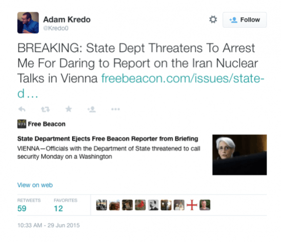 State Department Threatens To Arrest Reporter For Reporting On Obama Concessions To Iran – BB4SP
