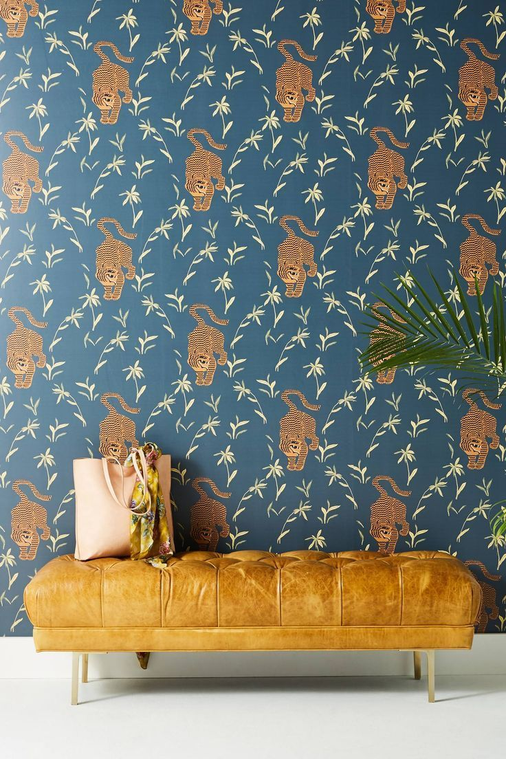 Silent Tiger Wallpaper by Mitchell Black in Beige, Wall