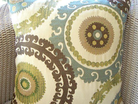 Suzani Ikat Pillows Decorative Throw Pillow Blue Brown Tan Cushion