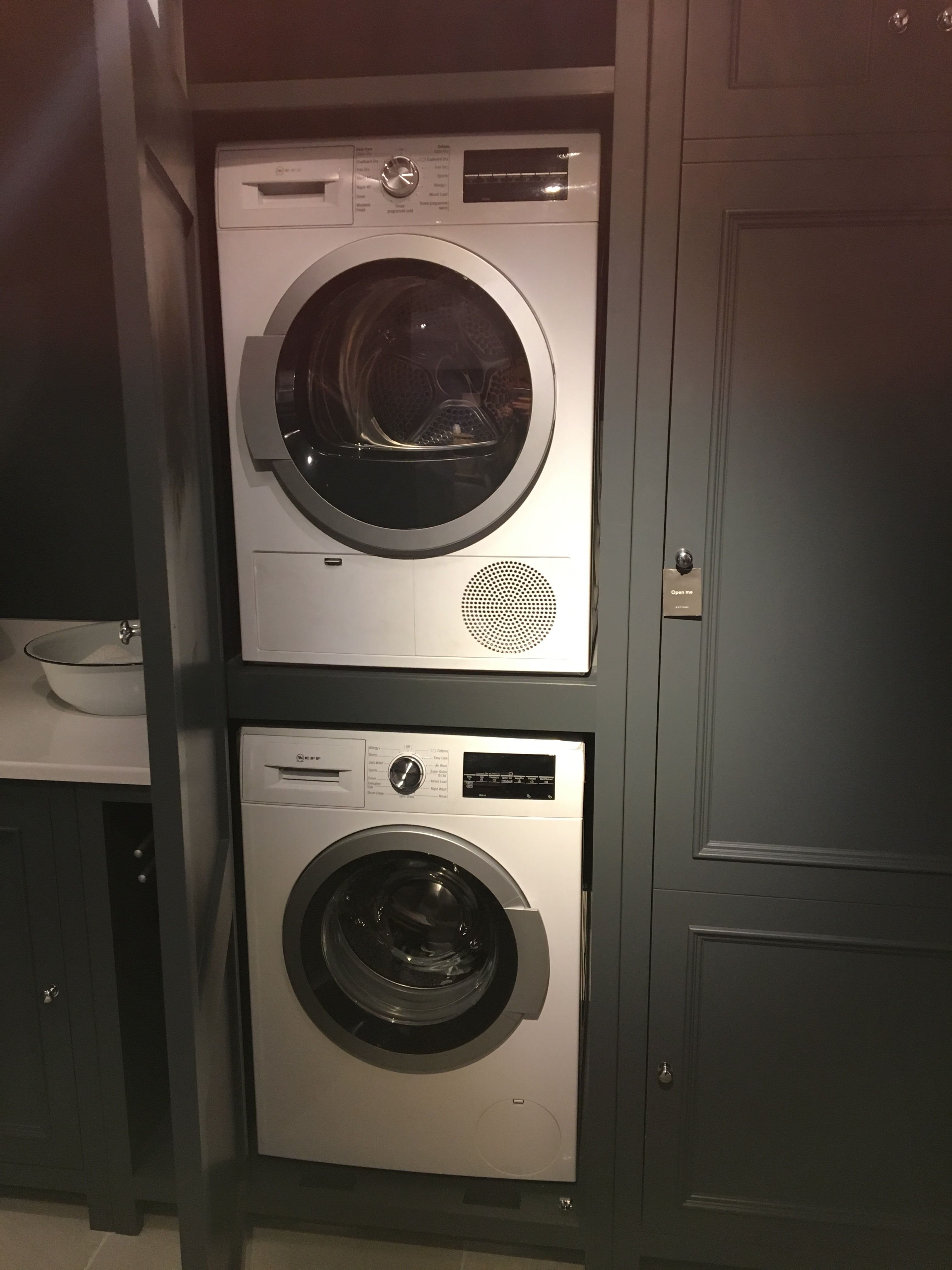 Stacked Washing Machine And Tumble Dryer Vintage Laundry Room