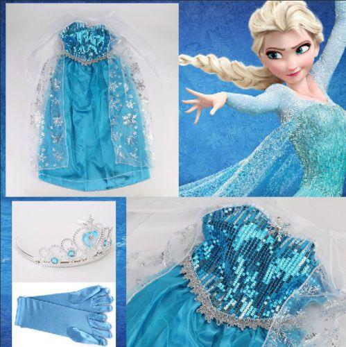 ce9848f45c00 Frozen - Vestiti Carnevale Elsa 8-9 Y XL anni - Dress up Elsa Costumes