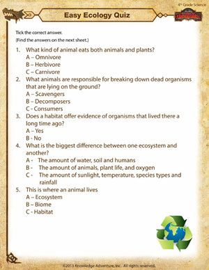 Free Printables For 4th Grade Science Easy Ecology Quiz With