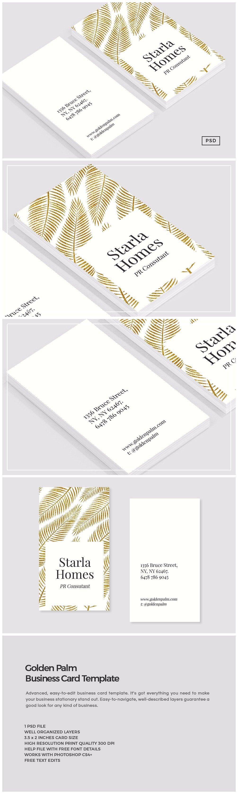 Golden Palm Business Card Template Business Card Template Card Template Unique Business Cards