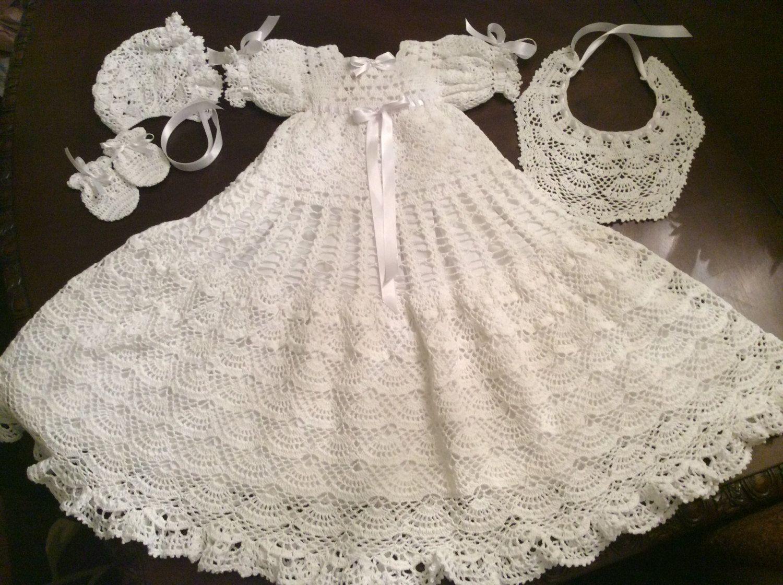 crochet pattern of baby Andrea christening gown, thread crochet ...