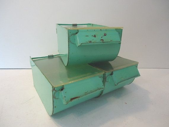 Vintage Metal Bin Kitchen Storage Bins Aqua Mint Green On Etsy
