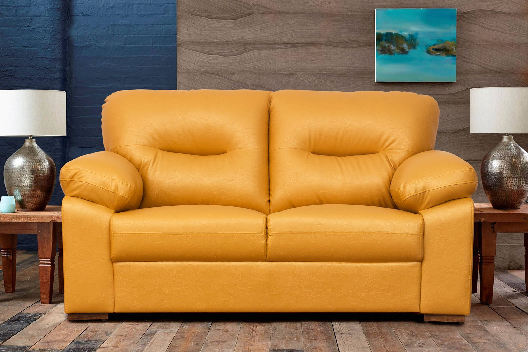Sofa House Kirti Nagar Galaxy 2 Seater Yellow Leatherite Sofa Mrp Rs 41 600 00 Offer