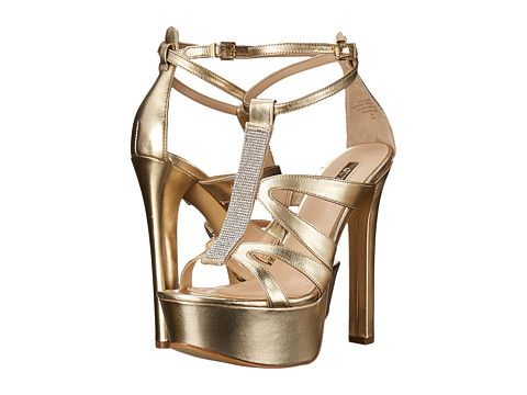 Womens Sandals GUESS Davanda Gold Leather