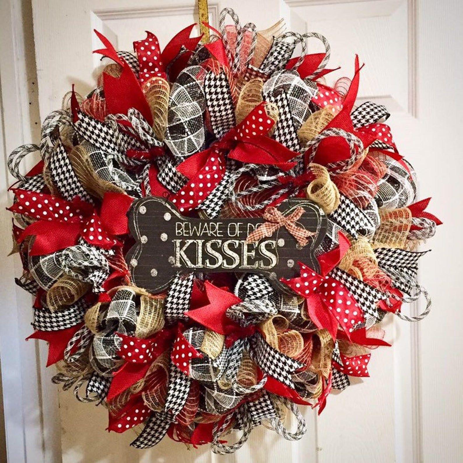 Photo of Burlap Wreath for your front door, Burlap Wreath, Dog Theme Wreath, Deco Mesh wreath for front door, Pet Themed Wreath, Deco Mesh Wreath