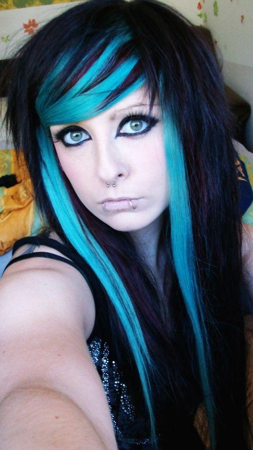Black Hair With Blue Streaks Emo Scene Hair Emo Hair Scene Hair