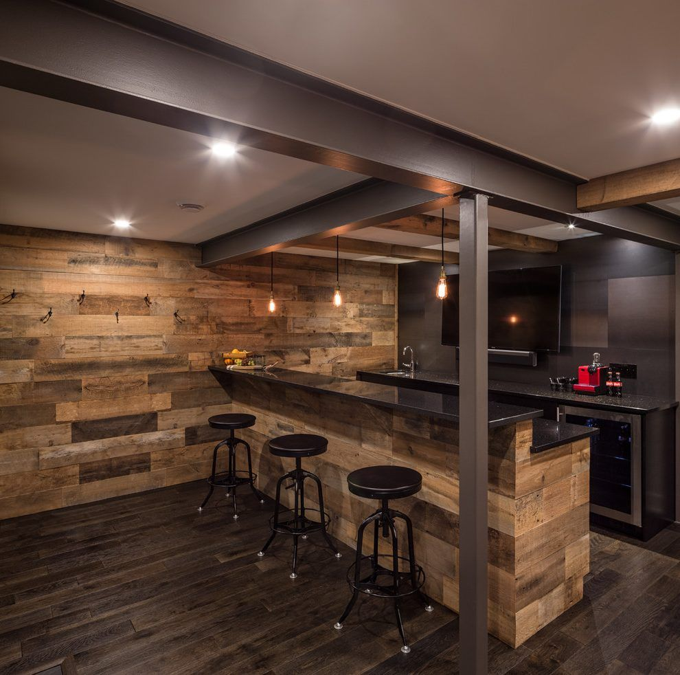 Delicieux Delightful Basement Bar Ideas Rustic Home Bar Rustic With Industrial  Barstools Industrial Barstools Reclaimed Wood Wall