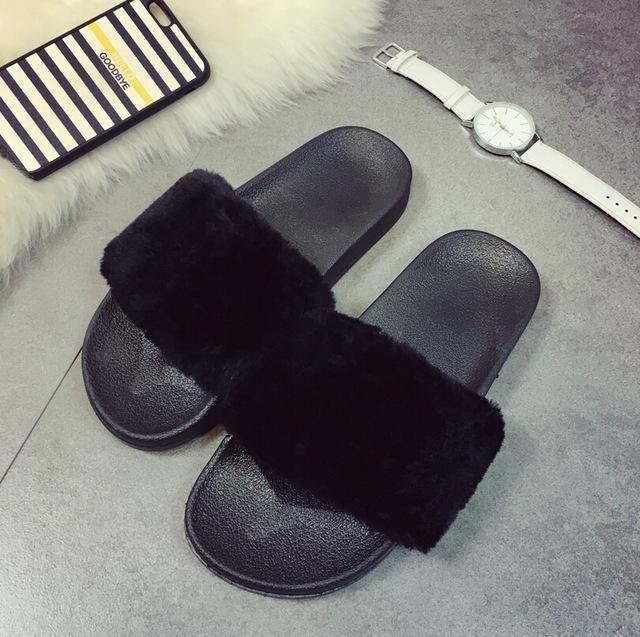 31e44a62963669 2017 Brand Women Summer Fashion Faux Fur Female House Slide Plush Slipper  flipflop Sandals Fluffy Flip