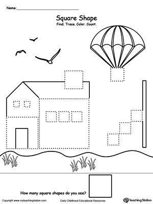 find trace color and count the shapes square language preschool worksheets shapes. Black Bedroom Furniture Sets. Home Design Ideas