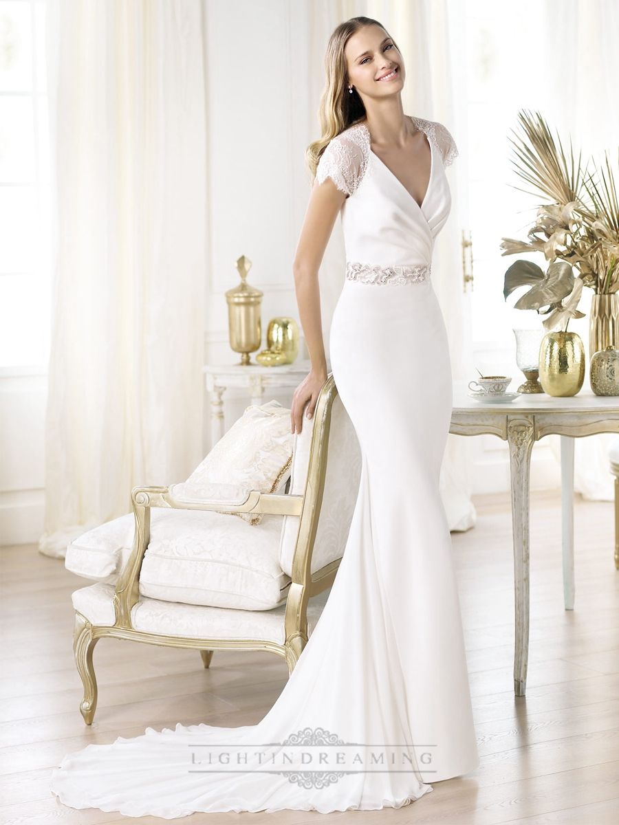 Elegant short sleeves plunging vneck mermaid illusion back wedding