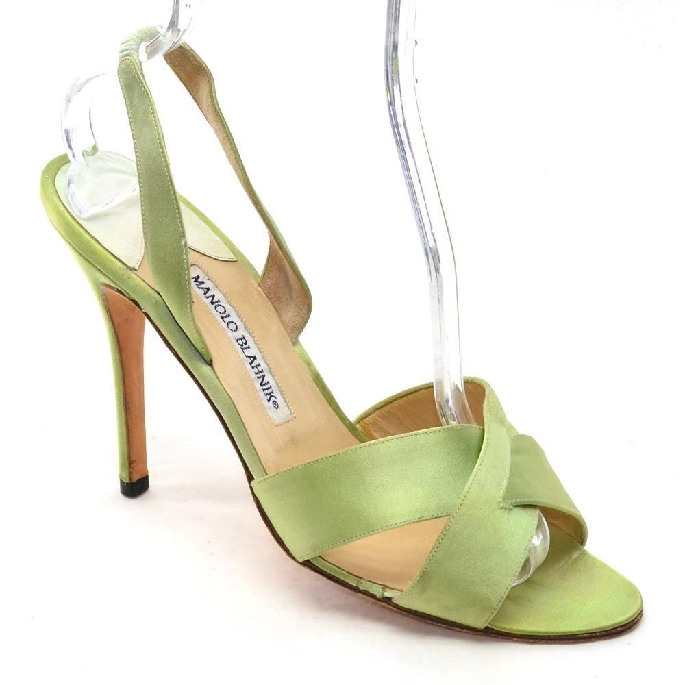 482640db37 MANOLO BLAHNIK Slingback HEELS Ladies size 40 / 9.5 Green Satin SANDALS  Shoes