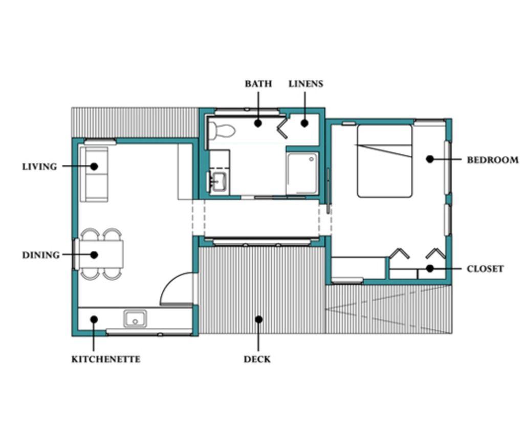 plano de casa moderna y peque a de 1 dormitorio y 50 m2 2