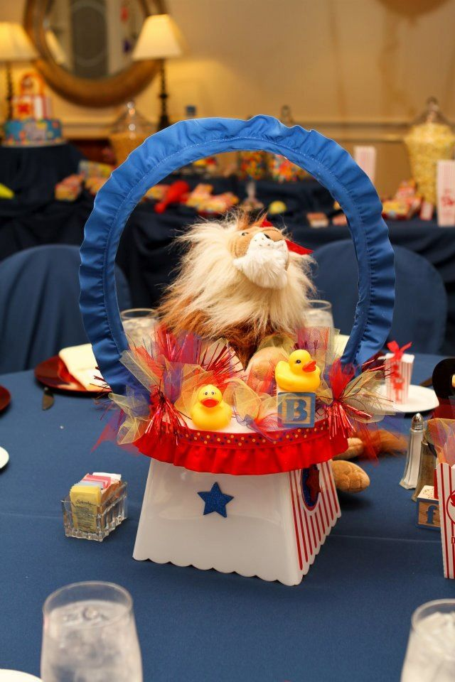 Lion centerpiece circus themed baby shower baby shower themes and baptism themes pinterest - Carnival themed baby shower ideas ...