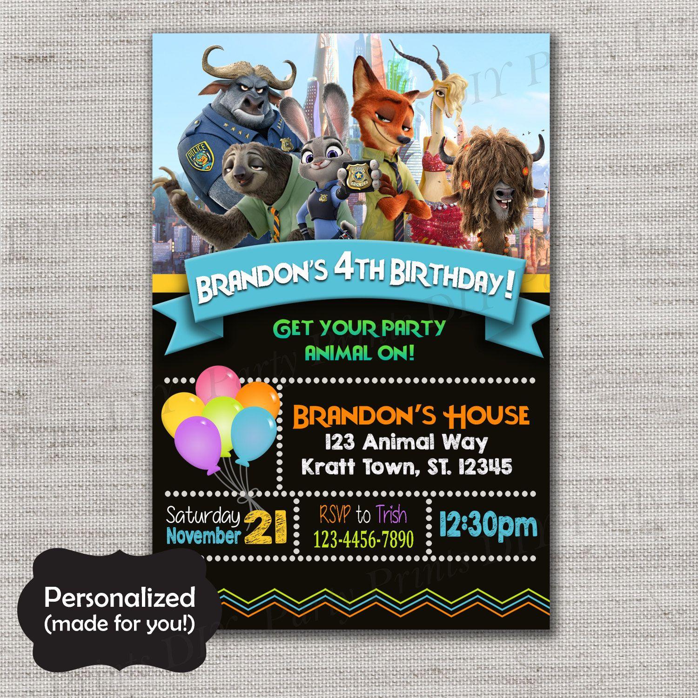 Zootopia Birthday invite,Zootopia invite,JPG file,Invite,Birthday ...