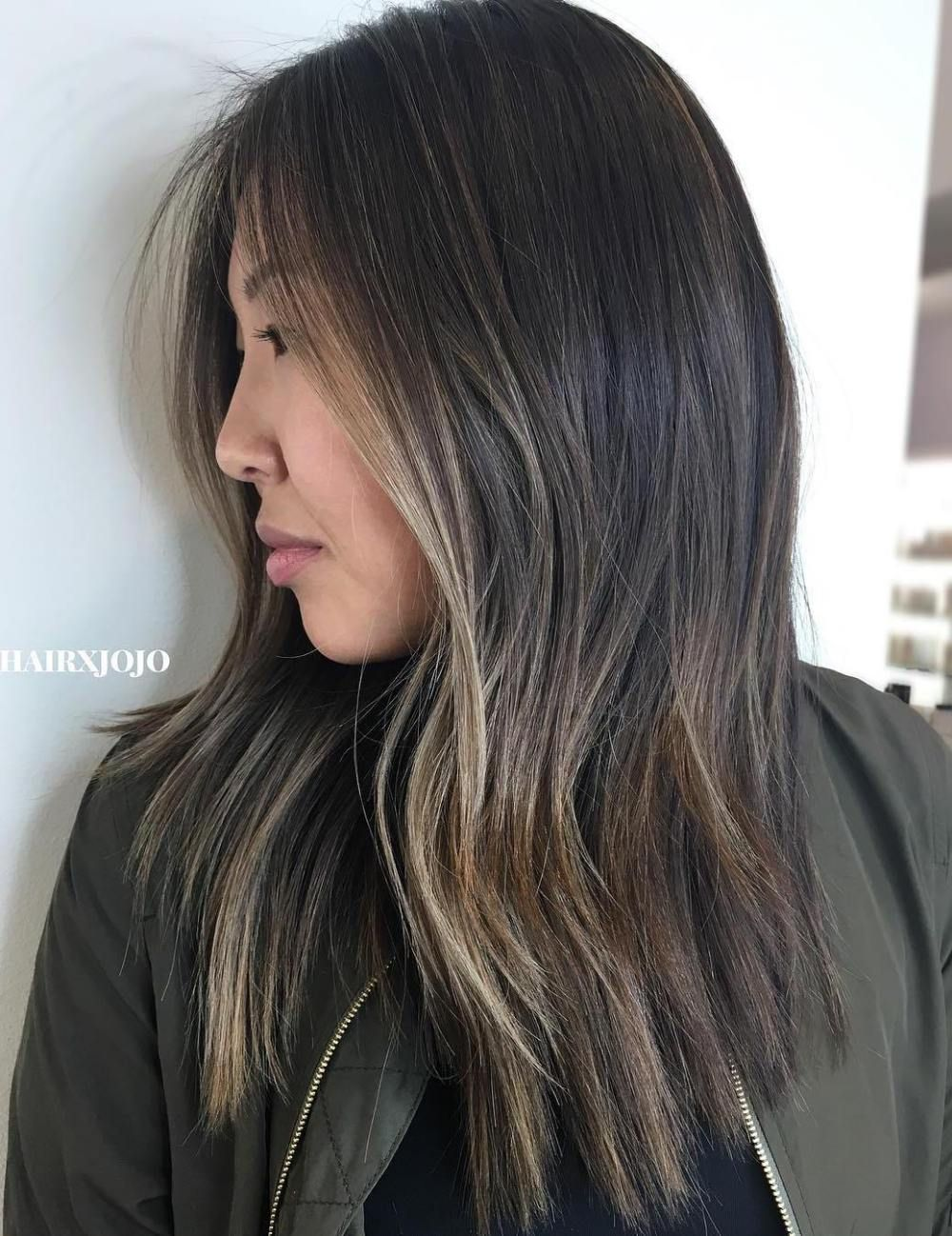 Asian Hairstyle With Partial Ash Highlights Partial Balayage Balayage Hair Short Hair Balayage