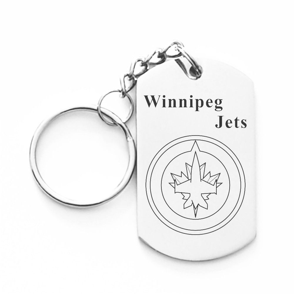 Ice Hockey Keychain NHL Winnipeg Jets Dog Tag Key Rings Stainless Steel Key  Chain For Men b84fb8c72