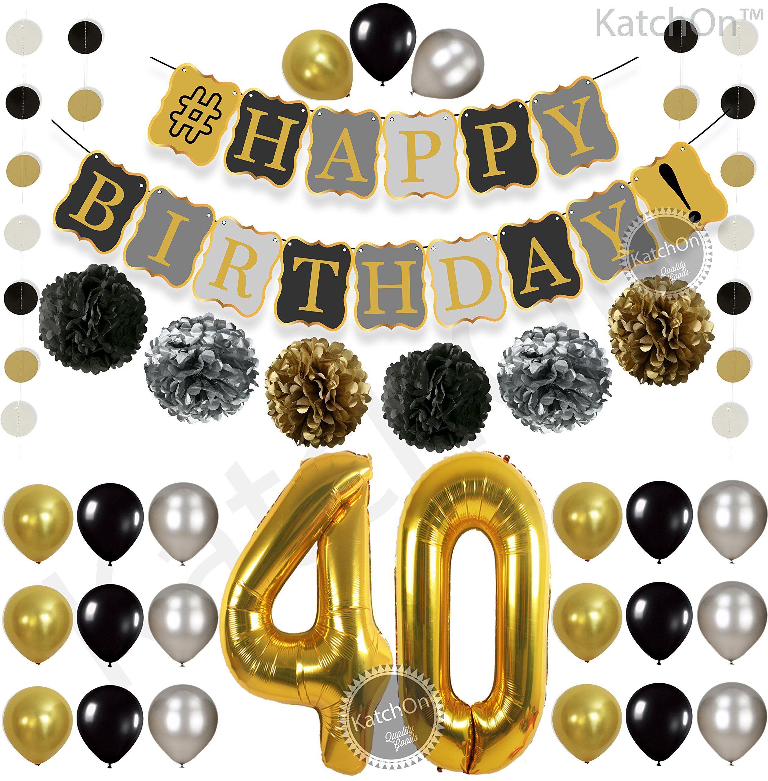 40th BIRTHDAY DECORATIONS BALLOONS BANNER