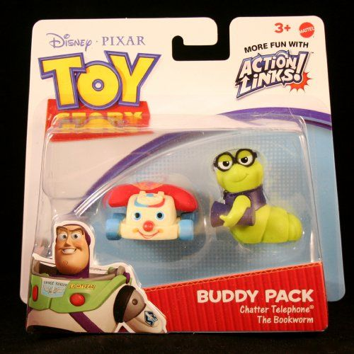 ( 14.44) Disney   Pixar Toy Story 3 Exclusive Action Links Mini Figure Buddy  2Pack Chatter Telephone The Bookworm From Toy Story 3 cf6f7928912