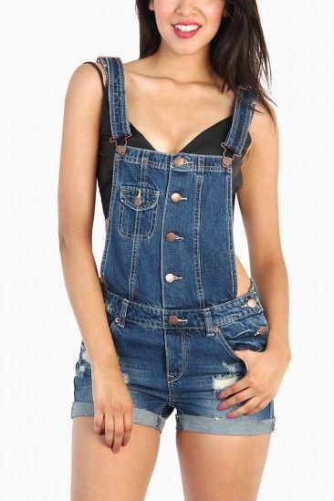 LoveMelrose.com From Harry & Molly | Denim Bib Suspenders Shorts ...