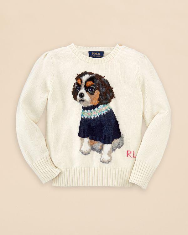 Ralph Lauren Girls Dog Sweater Sizes 2 6x Sweaters Pinterest