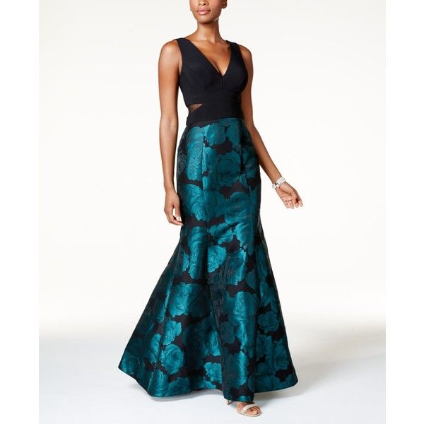 Xscape Illusion Floral-Brocade Mermaid Gown ($249) ❤ liked on ...
