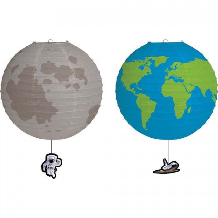Moon and earth 9 round paper lantern 2 ct products - Hanging planets decorations ...