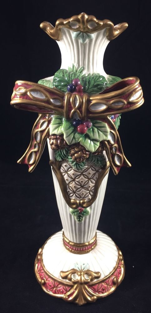 Vintage fitz and floyd florentine christmas candle stick 95in