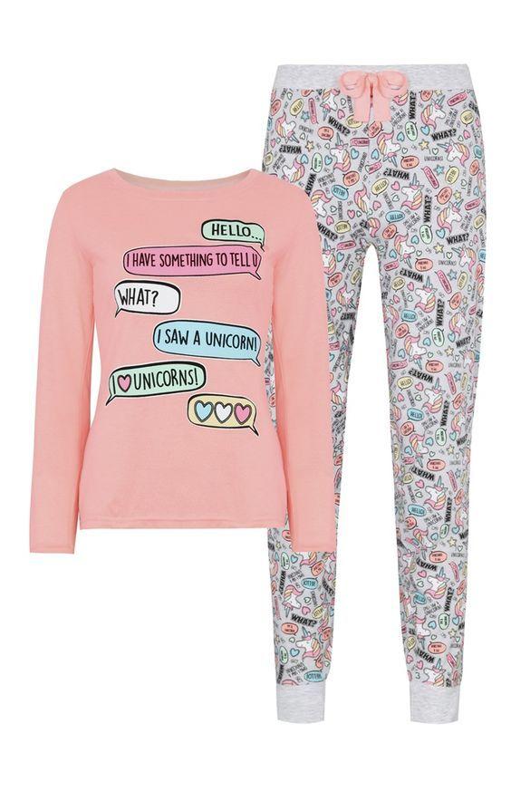2c4c9e0385acaa 12€ Primark - Pijama rosa con motivos de unicornios | Pajama Party ...