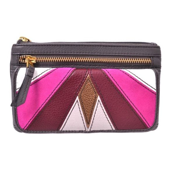 NWT Fossil clutch Karli Clutch in Pink multi retails $70.  See description above.  Available until 2/9. Fossil Bags Clutches & Wristlets