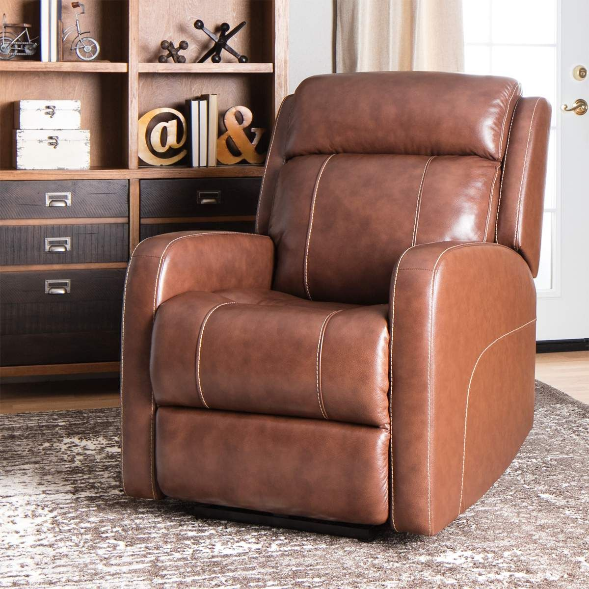 Andrew leather power recliner with power headrest in brown