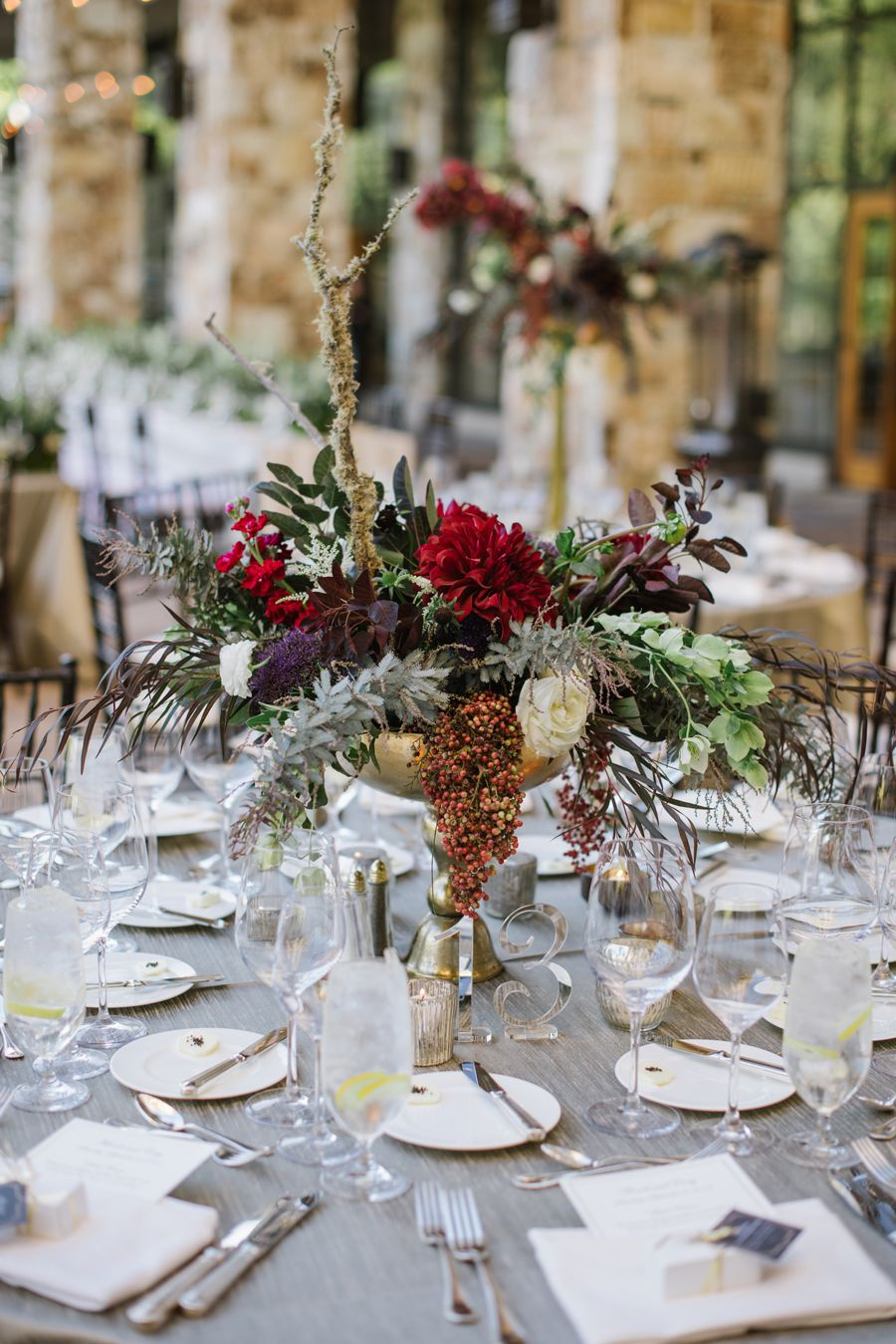 Floral Decor: Burgundy And Gray Tabletop In 2019