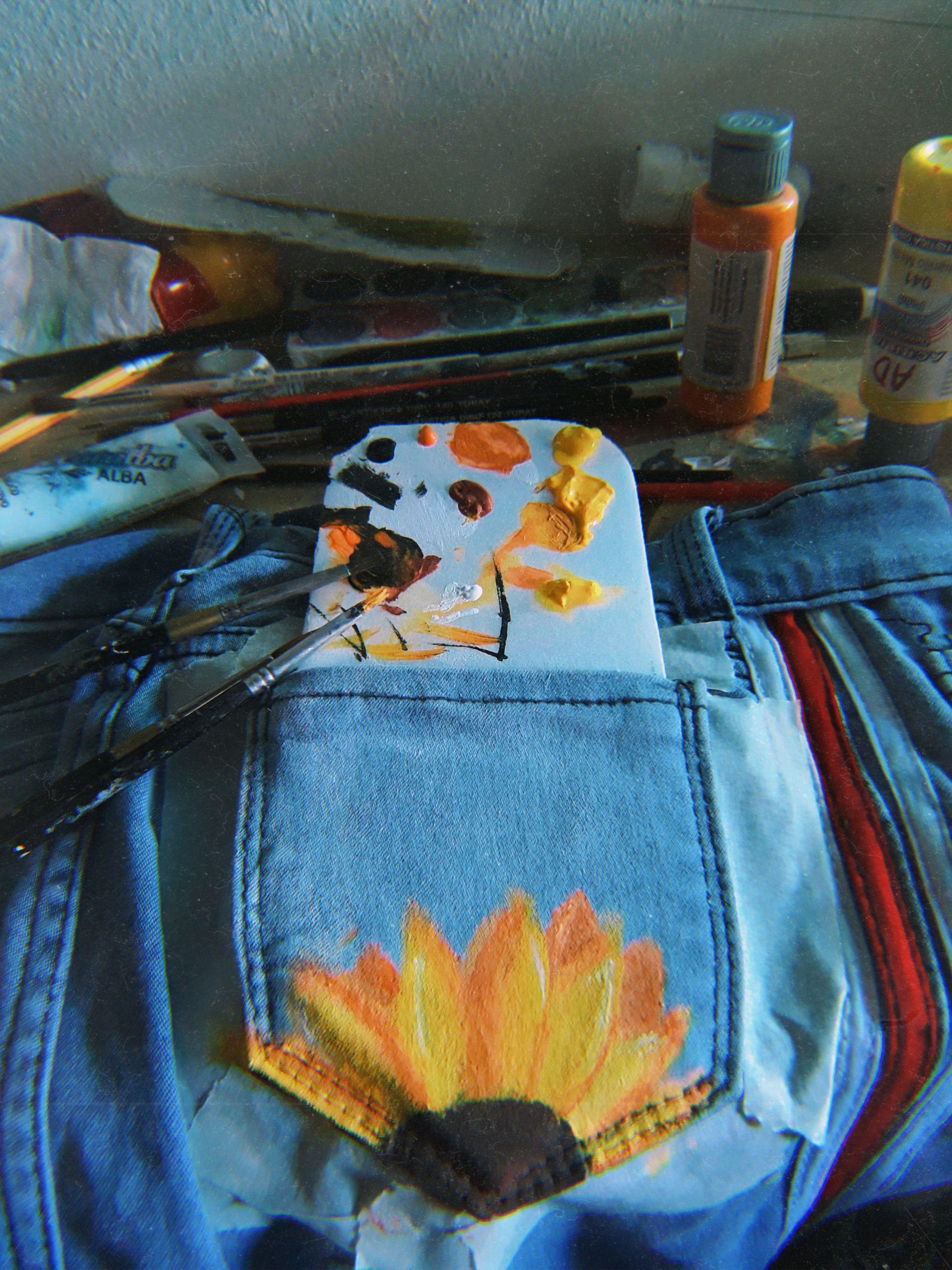 Bolsillo Pintado Pintura Pintado Painted Jean Handmade Pocketpainting Pintura Para Ropa Ropa Pintada Jeans Pintados