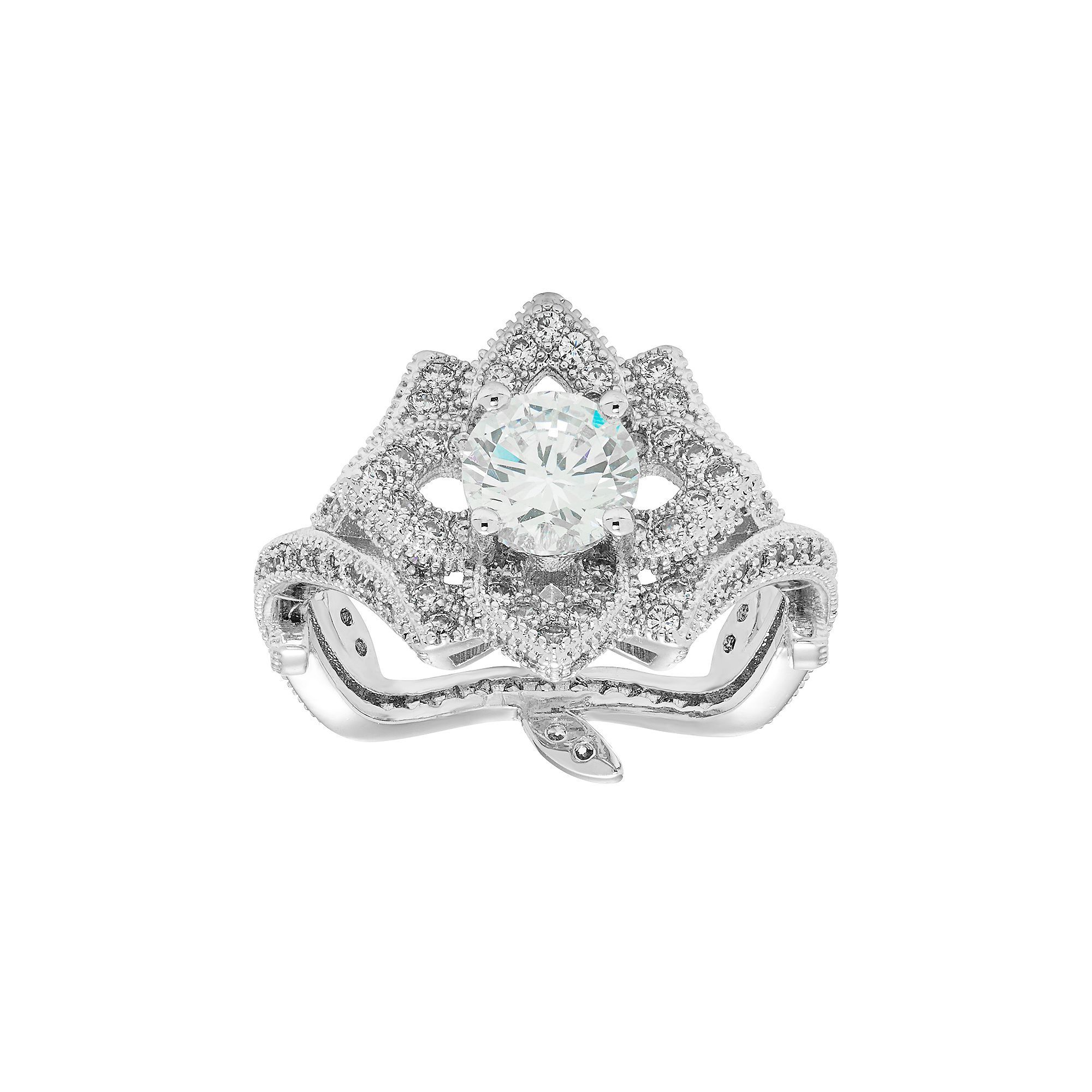 Sterling Silver Cubic Zirconia Flower Ring Womens Size 8 White