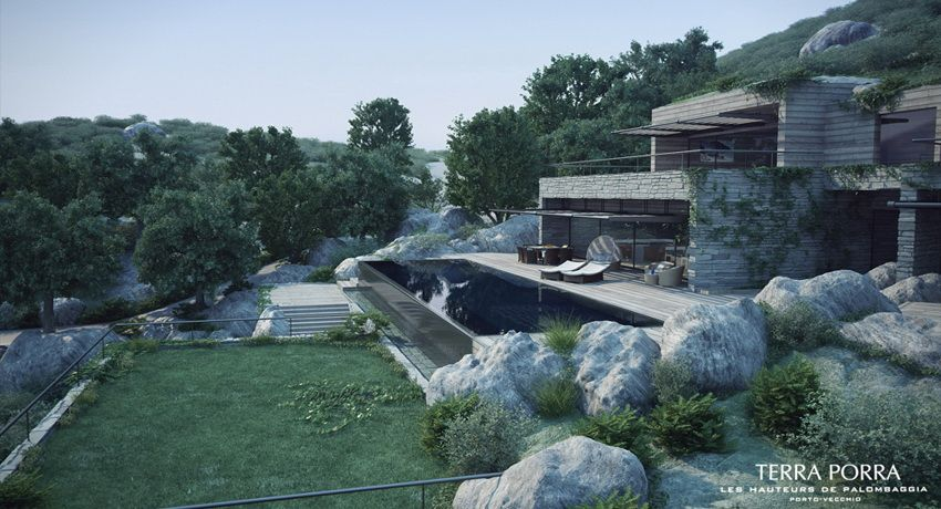 Corsican mountain view villas visualized villas green roofs and architecture