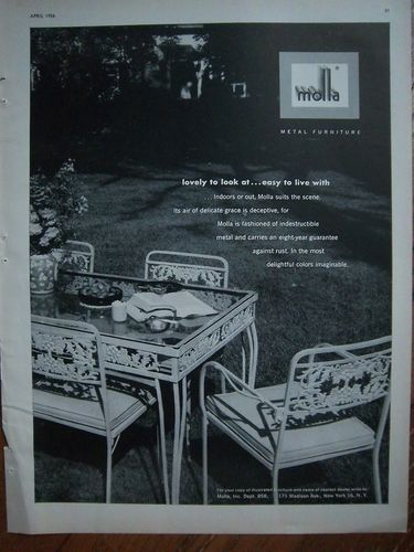 Details About 1956 Vintage Molla Metal Wrought Iron Patio