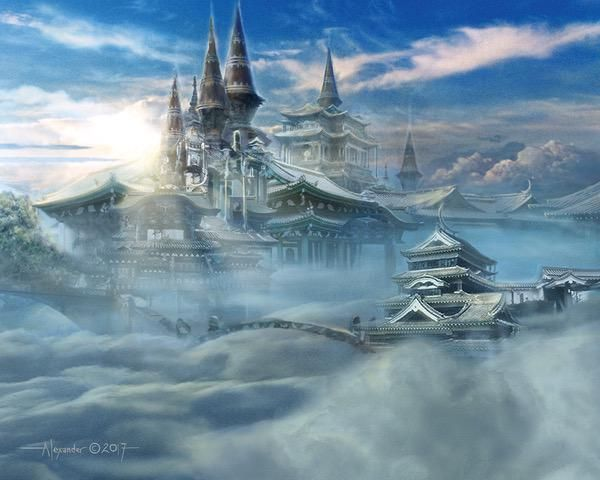 Oboro Palace in the Clouds by Rob Alexander Fantasy city