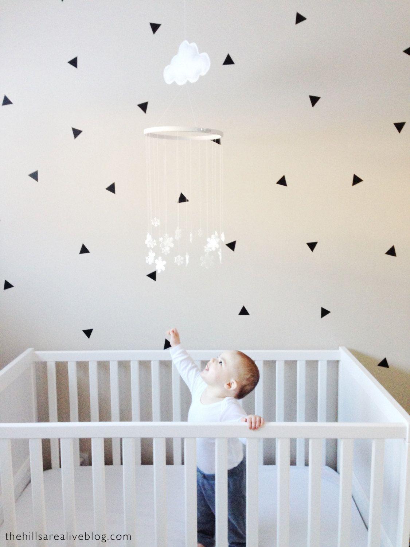 Mono Triangles Mono Gender Neutral Vinyl Wall Art Wall Art Vinyl Decals Triangle Wall Stickers 40 stickers 2 Sheets Per Pack