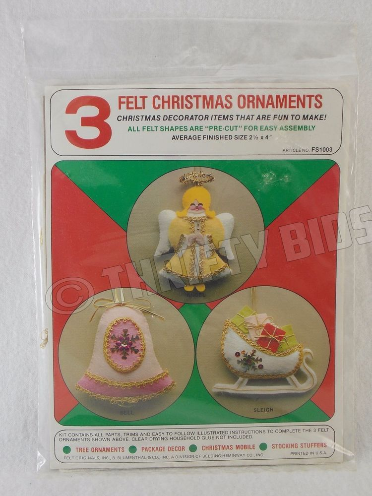 Felt Originals 3 Felt Christmas Ornament Kit Angel Bell Sleigh
