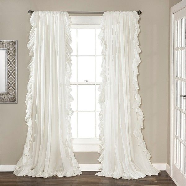 Reyna White Ruffle Curtain Panel Set 84 In 60 Liked On Polyvore Featuring Home Decor Window Treatments Curtains Panels
