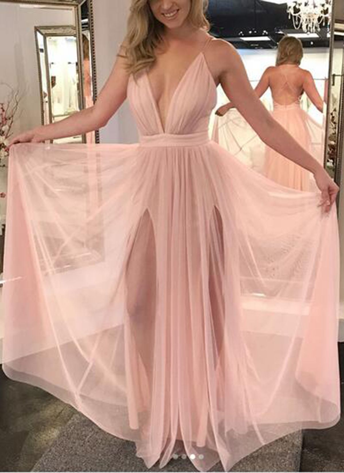 Sexy straps v neck pink long prom dress from wendyhouse ball gown