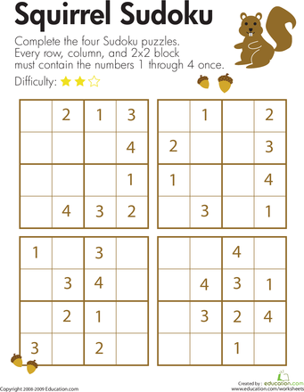 Squirrel Sudoku Worksheets Math And Critical Thinking Skills