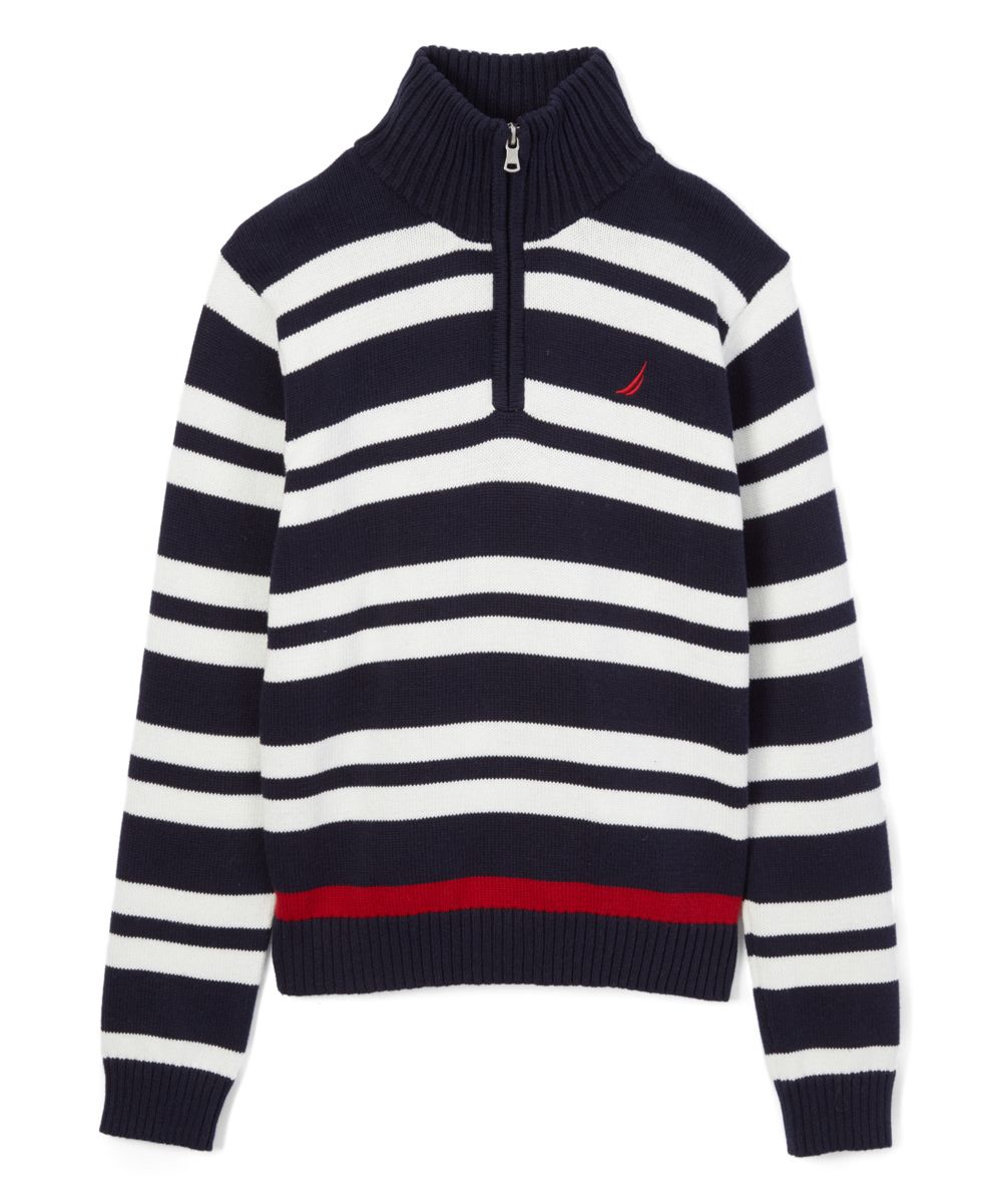 Sport Navy & White Stripe Quarter-Zip Sweater - Boys | Products ...