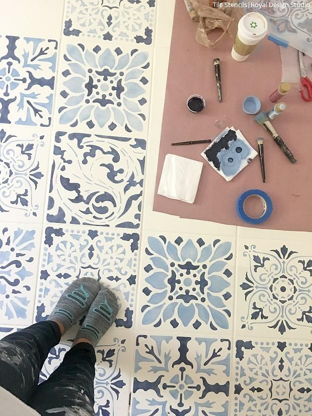 The Secret Is Out How To Stencil A Tile Floor In 10 Steps