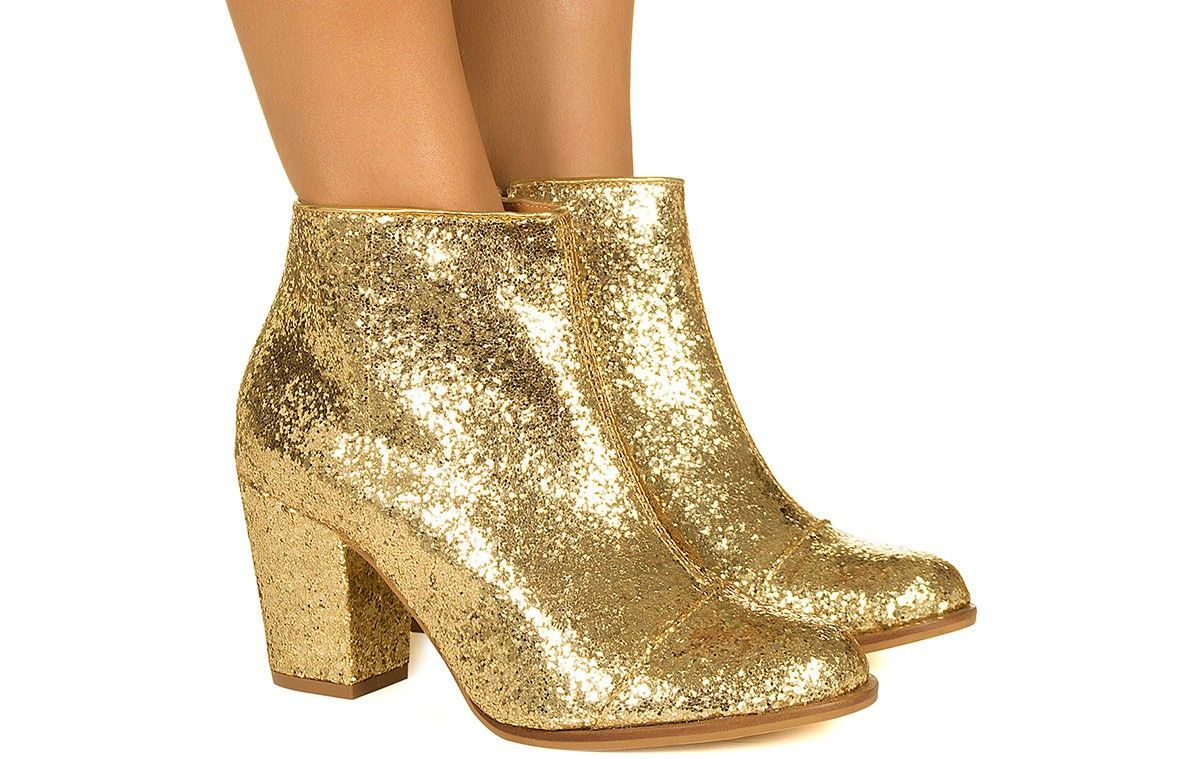 1158a30093 Bota de glitter dourada Taquilla