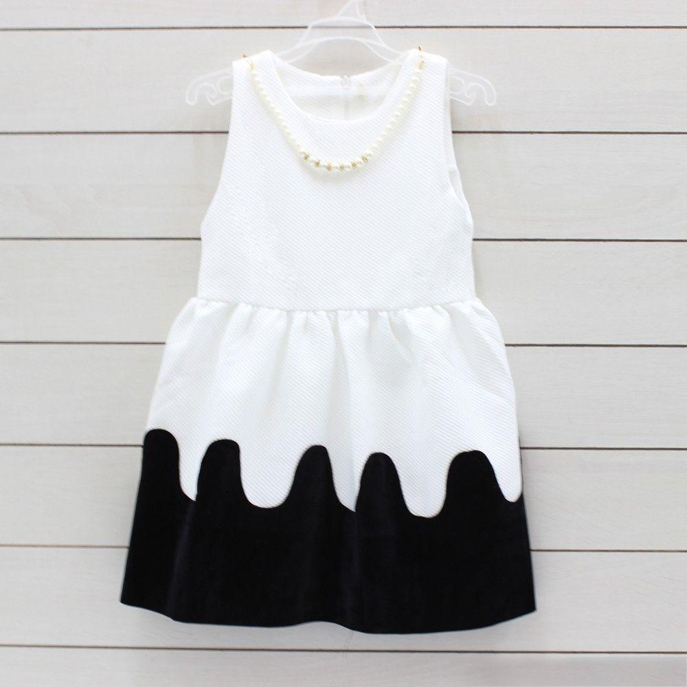 Little Muffet Black & White Audrey Woven Girls Cotton Dress #Black