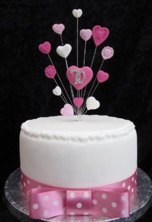70th Birthday Cake Topper Pinks And White Suitable For A Small Cake